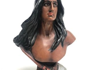 Antique Cigar Store Chalkware Indian Bust Statue