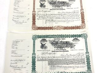 Rare Original Matched Pair of 1890's HAMM'S BEER Theo Hamm Brewery Stock Certificates - Common & Preferred