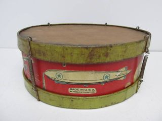 Vintage 1920's-30's Tin Litho Toy Drum w/Planes & Zeppelin Graphics