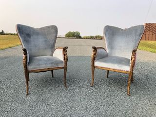Matching Pair of Vintage Deco Wingback Armchairs w/Figural Nude Carved Arm Supports