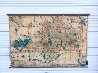 Nice Vintage 1950's Large Pull-Down Canvas Map Hudson's Map of Twin Cities Area