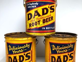 Lot of 3 Vintage 1950's DAD'S ROOT BEER Soda Advertising 5 Gallon Can