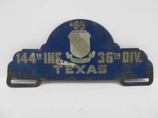 Old Vintage Tin Military 144th Infantry - Texas License Plate Topper