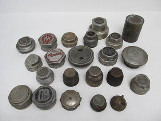 Collection of Early Automobile Grease Cups & Radiator Caps