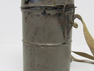Authentic WW1 German Military Leather Gas Mask in Original Metal Canister