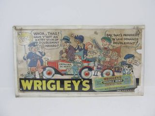 Original 1920's WRIGLEY'S Double Mint Chewing Gum Advertising Trolley or Street Car Sign