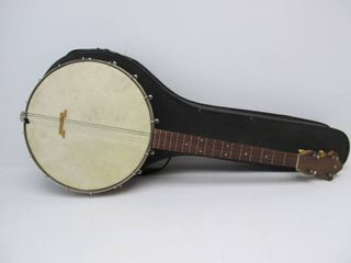 Old Vintage Solid Wood Back Banjo w/Original Case