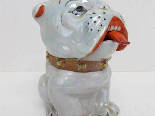 Vintage 1940's Japanese Lustreware Bulldog Condiment Jar w/Spoon