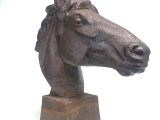 LARGE Old Vintage Cast Iron Horse Head Statue