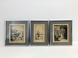 Lot of 3 Old Vintage Framed Etchings