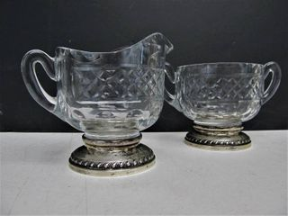 Quality Vintage Signed Sterling Silver Crystal Cream & Sugar Set