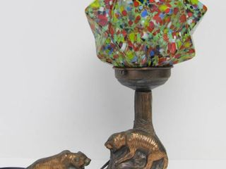 Vintage Deco 1930's Cast Metal Tiger Table Lamp w/Fantastic Czech Geometric Star Globe