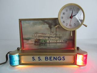 Vintage Deco SS MENGS River Paddleboat Advertising Clock