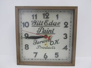 Vintage GILT EDGE PAINT Farwell Ozmun Kirk Advertising Clock