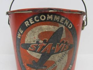 Vintage STA-VIS Advertising Grease Bucket w/Airplane Graphics