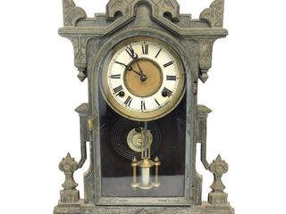 Orig Antique ca 1870 Solid Iron Front KROEBER 8-Day Mantel Clock