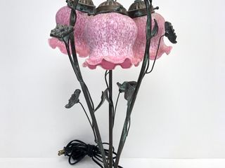 Vintage Floral Brass Table Lamp w/Pink Glass Shades