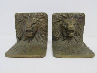 Vintage Bronze Lion Head Bookends
