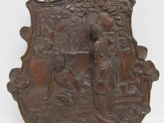 Excellent Antique Relief Carved Art Nouveau Black Walnut Wall Sculpture - Maidens in Garden