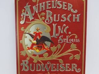Vintage 1970's Embossed Tin BUDWEISER Beer Sign