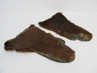 Antique Leather & Animal Pelt Trapper's Gloves