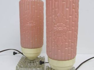 Matching Pair of Vintage 1940's Era Pink Deco Skyscraper Style Glass Lamps