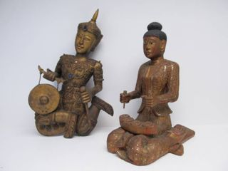 Pair of LARGE Hand Carved Decorated Gilt Wood Thai Deity Figures