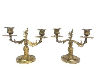 Matched Pair of Antique Art Nouveau Candle Stands