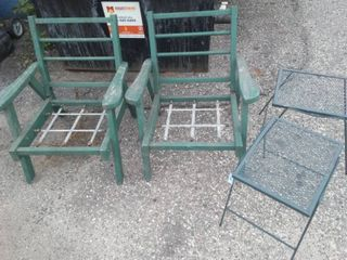 Lawn Furniture wood chairs, metal tables.