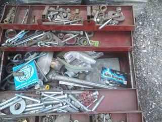 2 metal parts bins & large toolbox includes Contents.