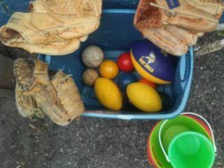 Outdoor toys, Croquet set, gloves, balls, buckets & more.