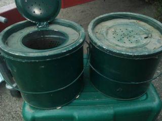 Vintage metal minnow buckets. (2)