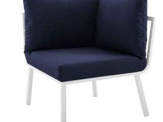 Modway Riverside Aluminum Corner Outdoor Sectional Chair in White with Navy Cushions EEI-3569-WHI-NAV