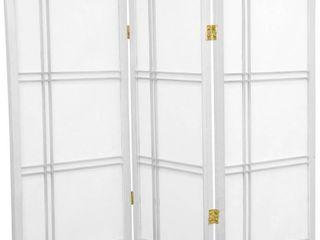 Oriental Furniture 3 ft. White 3-Panel Room Divider, DC36-WHT-3P