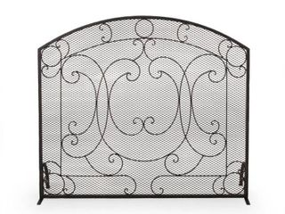 Noble House Burnell Black Brushed Gold Metal 1-Panel Fireplace Screen, 71567