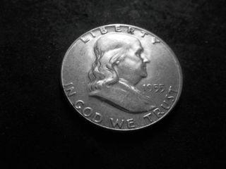1955 Franklin Silver Half Dollar (Bugs Bunny Strike)