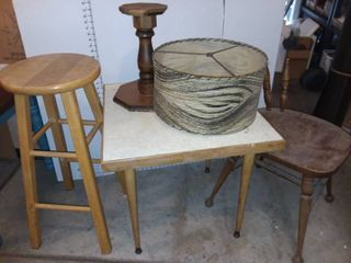 Wood Barstool 29 in Tall with Side Table 22 x 24 x 24 in and Assorted Decor Pieces