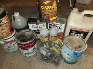 Deck Paint Cleaner  Steel Wool  Stain  and other miscellaneous Items