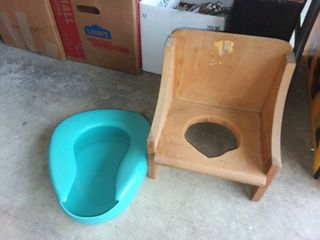Vintage Potty Chair with Bed Pan