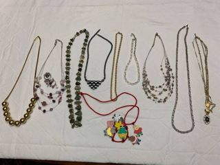 ladies jewelry  10 necklaces and one pair of pierced earrings
