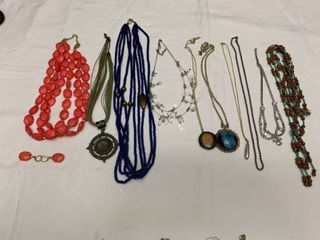 ladies jewelry  10 necklaces and one pair of earrings