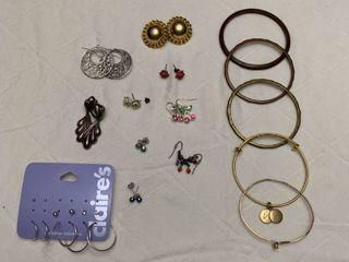 ladies jewelry  10 pierced earrings and five bracelets