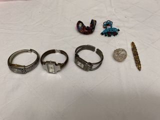 ladies jewelry  three watches  one pendant  one pen and two Indian items