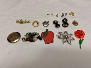 Assorted jewelry six small pendants and 10 pins