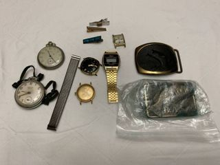 Assorted jewelry  two pocket watches assorted watch pieces and two belt buckles