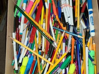 Office Supplies  Box of Miscellaneous Pens and Pencils