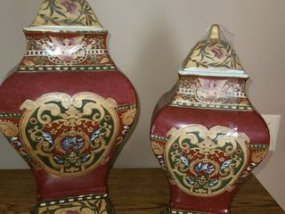 Oriental Urns with lids  Quantity of 2