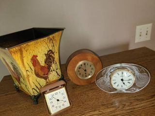 Rooster Vase and 3 clocks