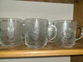 5 pcs  Glass Mugs with Flowers