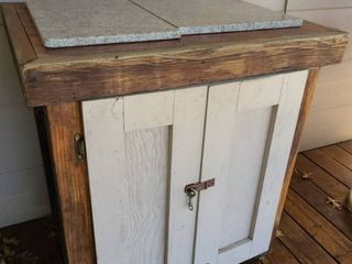 Rolling Outdoor Storage Cabinet with Granite Top Pieces 36 x 33 x 25 in Including Contents